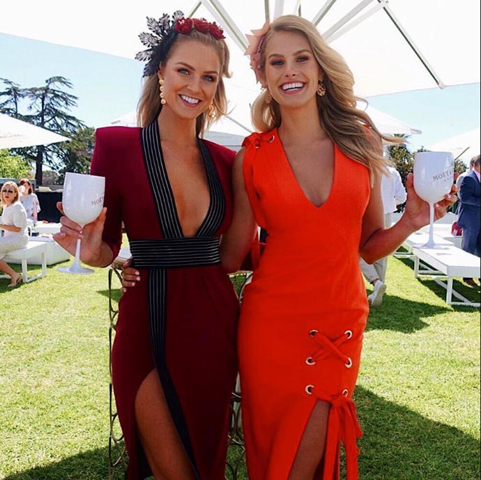 Models Natalie Roser and Renae Ayris at Caulfield Guineas Day.