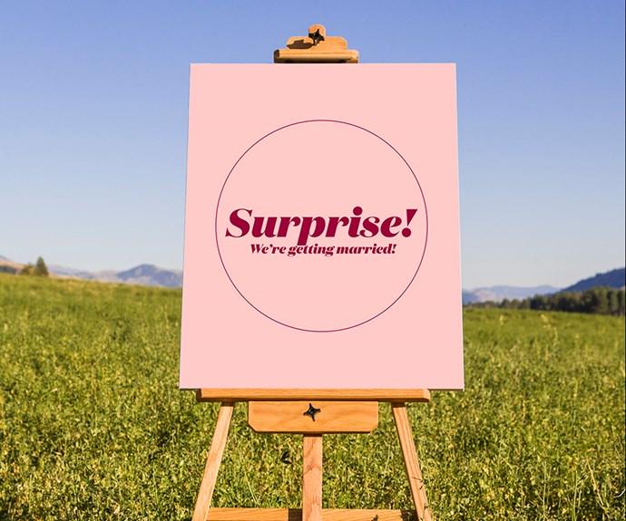 Surprise sign.