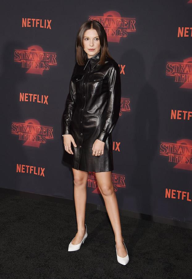 Millie Bobby Brown attends the 'Stranger Things' premiere.