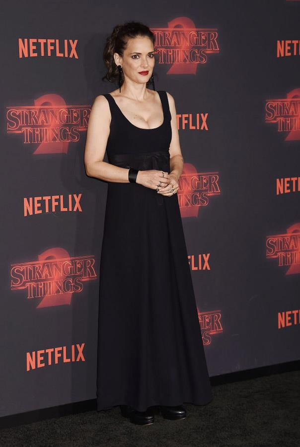 Winona Ryder attends the 'Stranger Things' premiere.