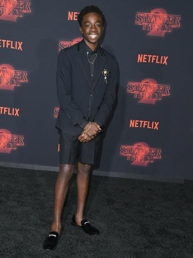 Caleb McLaughlin attends the Stranger Things premiere.