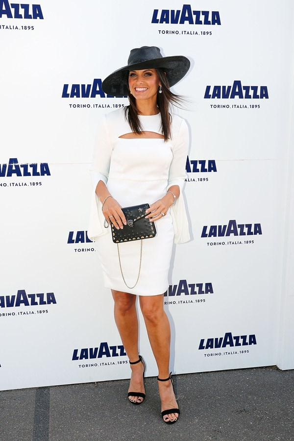 Zoe Ventura poses at the Lavazza Marquee on Derby Day.