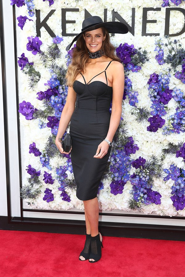 Robyn Lawley poses at the Kennedy Marquee on Derby Day.