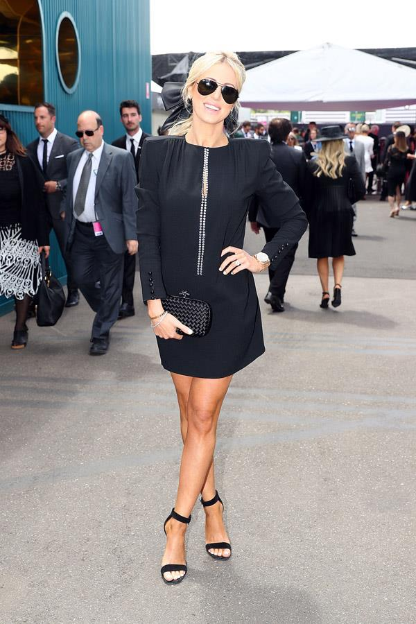 Roxy Jacenko poses at the ELLE Marquee on Derby Day.