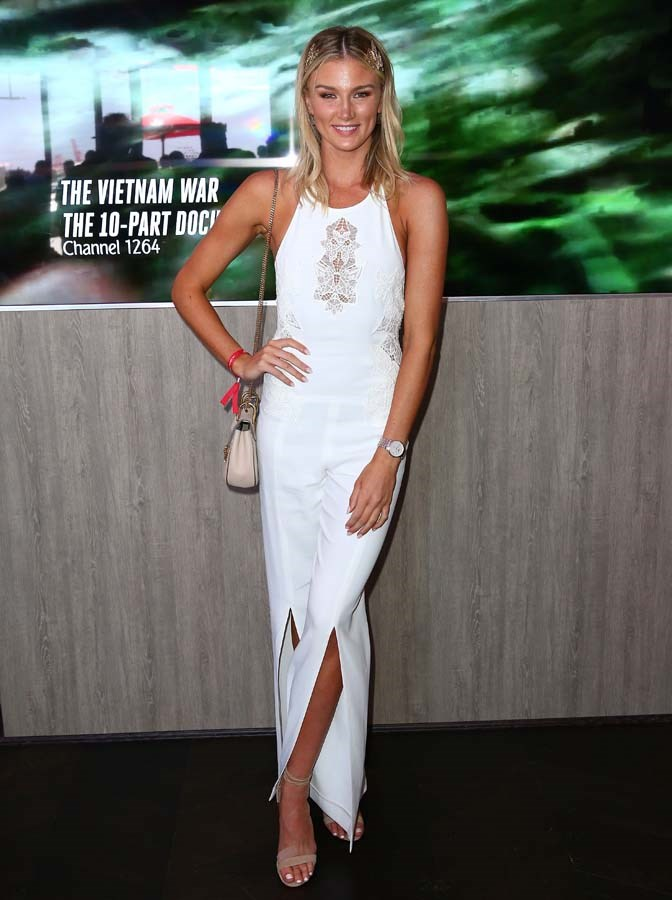 Amy Pejkovic poses at the Emirates Marquee on Stakes Day.