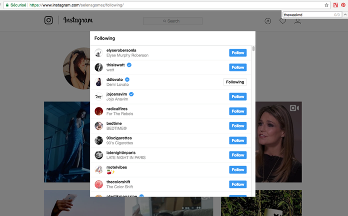 Selena Gomez's Instagram at 2 p.m. No Weeknd follow to be seen.