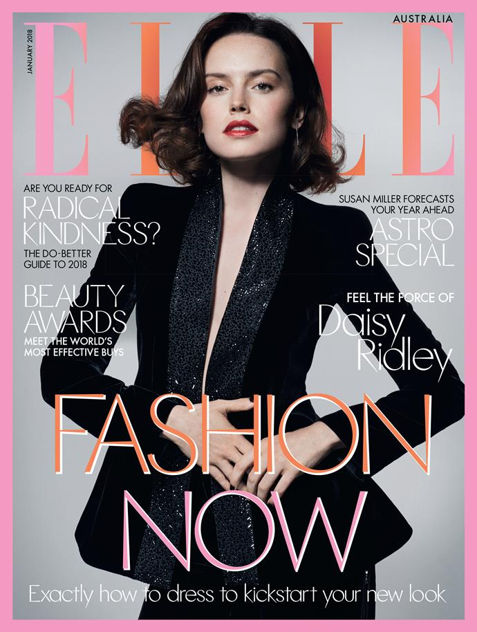 Daisy Ridley graces the cover of ELLE Australia's new January issue which is out now.