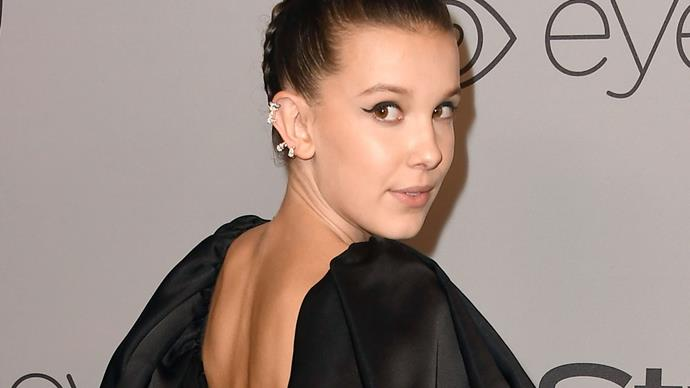 millie bobby brown golden globes 2018 red carpet