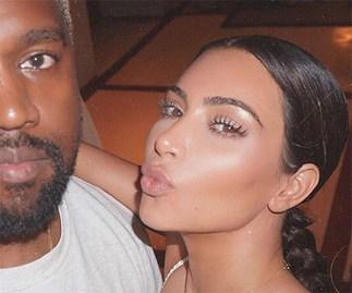 Kanye West and Kim Kardashian selfie