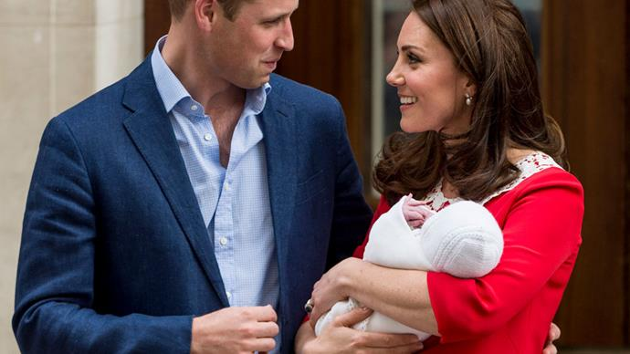 Kate Middleton And Prince William Shared A Very Rare PDA Moment At The Royal Baby's Hospital Debut