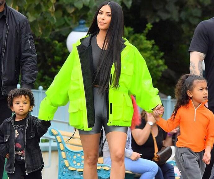 Kim Kardashian Took Her Kids To Disneyland Dressed Like A Tradie