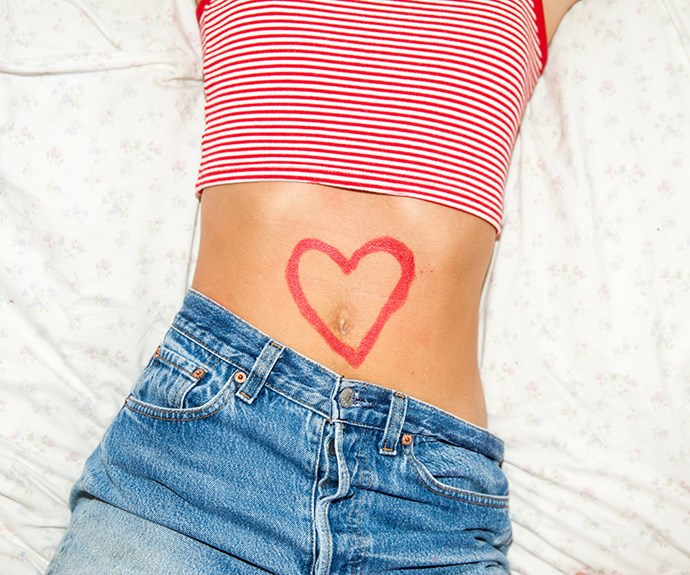 Stomach with heart.
