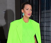 Blake Lively Wears A Highlighter Green Versace Menswear Suit In New York
