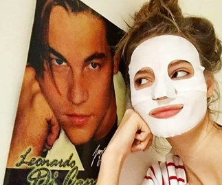 Model wearing sheet mask