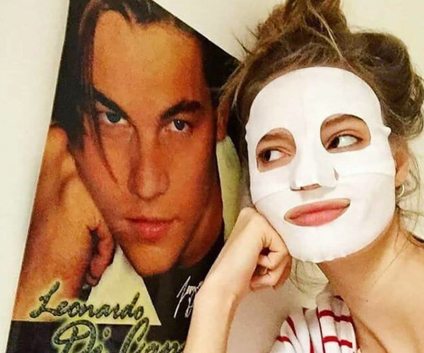 Model wearing sheet mask