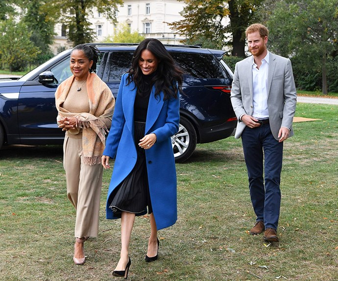 Prince Harry, Meghan Markle and Doria Ragland.
