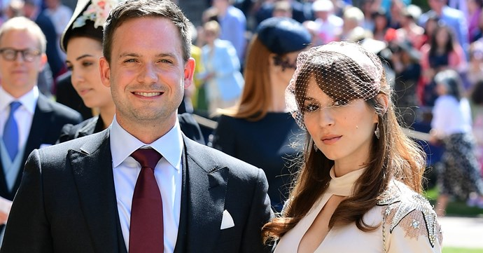 Troian Bellisario and Patrick J. Adams attend the royal wedding.