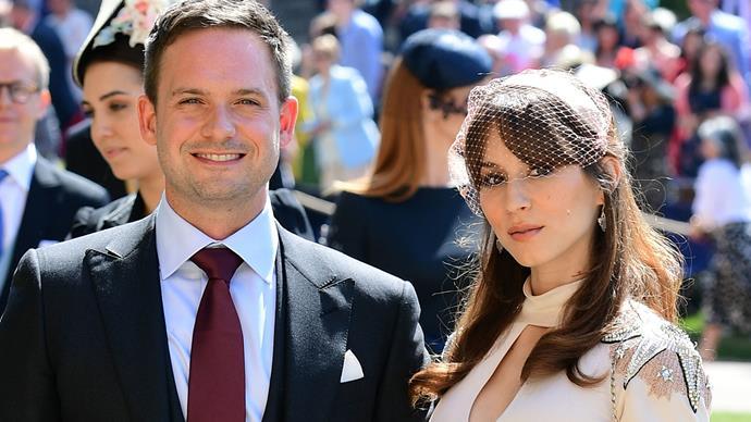 Troian Bellisario and Patrick J. Adams attend the royal wedding.