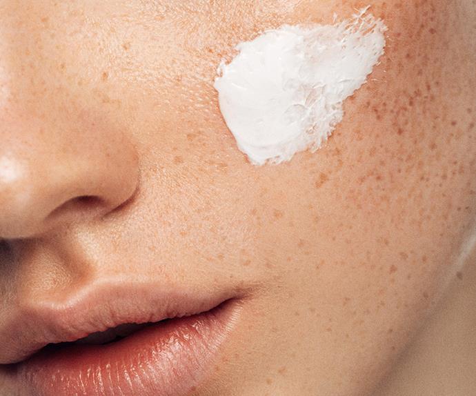 Cream on skin.