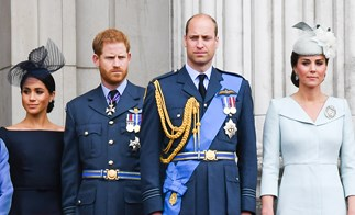 Kate Middleton, Meghan Markle, Prince Harry and Prince William.