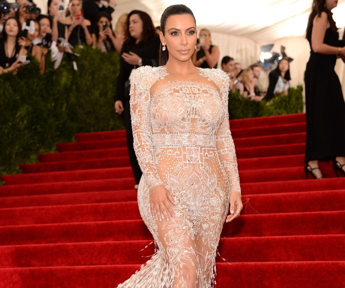 best naked dresses red carpet kim kardashian
