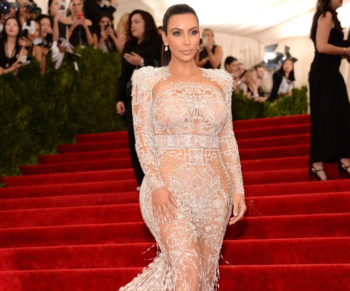 best naked dresses red carpet kim kardashian