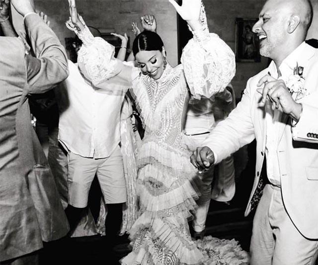 Wedding reception photo couple dancing