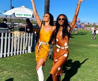 Shanina Shaik and Jasmine Tookes at Coachella 2019.