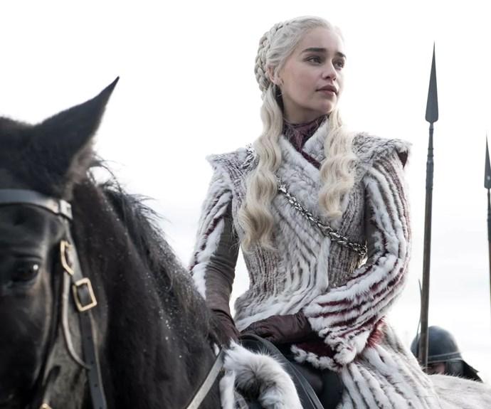 Daenerys Targaryen in Game of Thrones season 8, episode 1.
