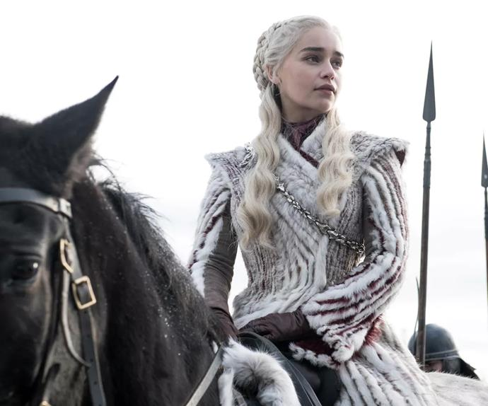 Daenerys Targaryen in Game of Thrones season 8, episode 1.
