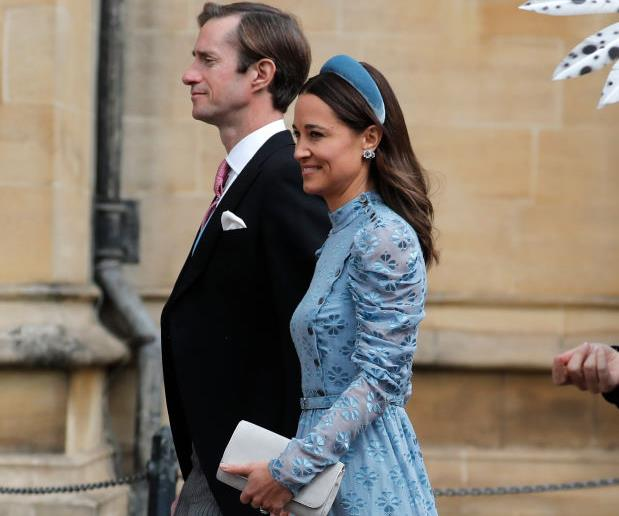 Pippa Middleton and husband attend Lady Gabriella Windsor's wedding.