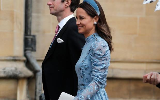 Pippa Middleton and husband attend Lady Gabriella Windsor's wedding.