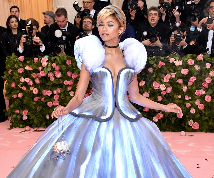 Celebrities Dressed Like Disney Princess Red Carpet Zendaya Cinderella