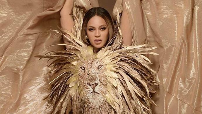 Beyoncé in a lion outfit for The Lion King.