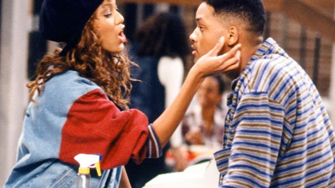 Will Smith and Tyra Banks on The Fresh Prince of Bel-Air.