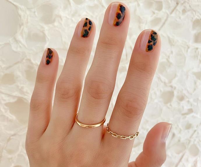 Tortoiseshell manicure.