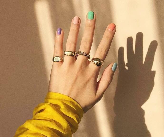 Skittles manicure.