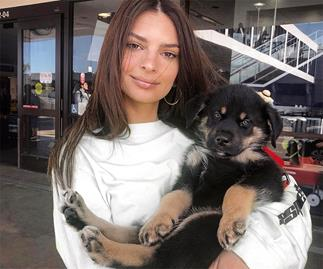 Emily Ratajkowski and her dog.