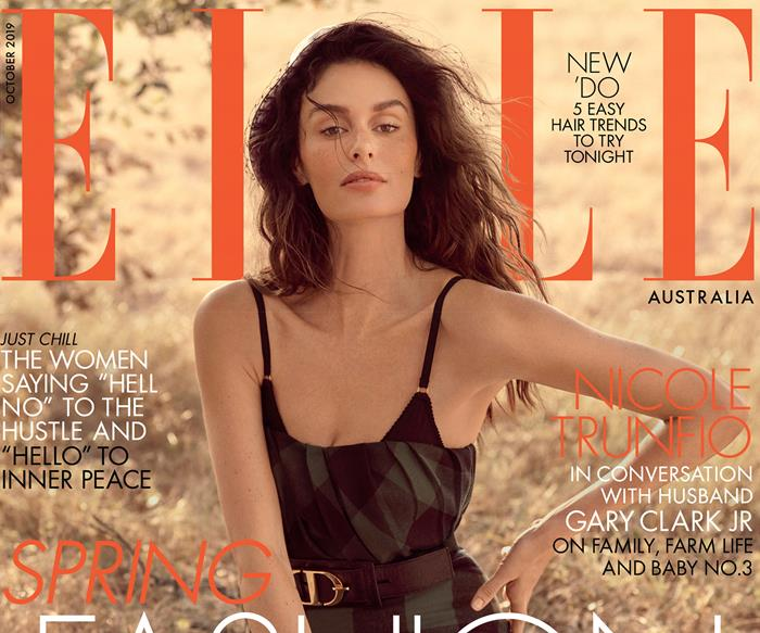 Nicole Trunfio on the ELLE Australia October 2019 magazine cover.