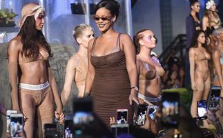 Rihanna taking a bow at the Savage X Fenty show at New York Fashion Week.