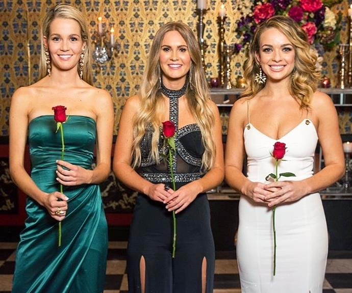 Bachelor Australia top three Abbie Chatfield, Helena Sauzier and Chelsie McLeod.