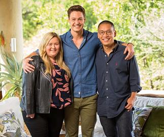 Matt Agnew with his friends Kate and Jason in 'The Bachelor' Australia finale.