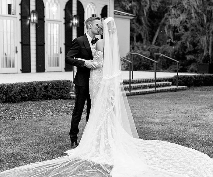 Hailey Baldwin in her wedding dress.