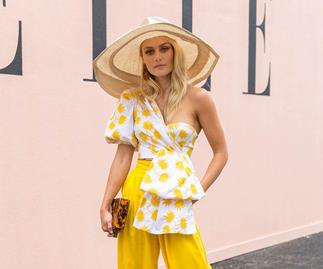 Elyse Knowles at the ELLE marquee at the Melbourne Cup 2018.