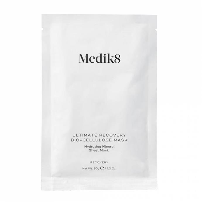"**Ultimate Recovery Bio Cellulose Mask by Medik8** <br><br> The restorative powers of [hyaluronic acid](https://www.elle.com.au/beauty/what-is-hyaluronic-acid-13209|target=""_blank"") help Medik8's sheet masks live up to their name—ultimately aiding the rejuvenation of weary, barren skin. Apply the mask once a week for 15 minutes after cleansing. <br><br> *$96 for six masks at [ADOREBEAUTY](https://www.adorebeauty.com.au/medik8/medik8-ultimate-recovery-bio-cellulose-mask-6-masks.html