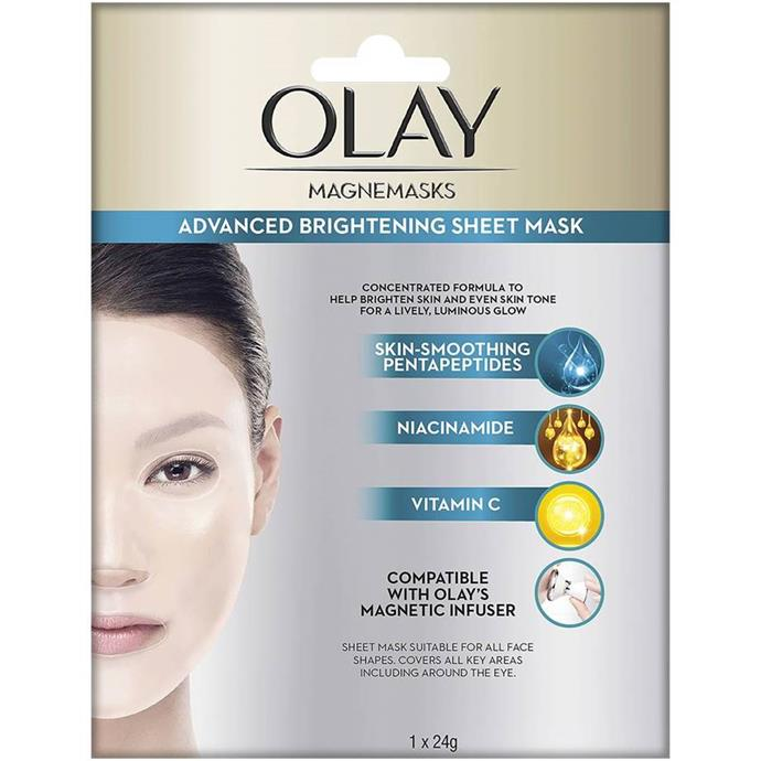 "**Olay Magnemask Advanced Brightening Sheet Mask** <br><br> Thankfully for us, Olay's illuminating sheet mask is just as effective as other more expensive counterparts, and uses Vitamin C, niacinamide and other powerful chemical properties to ensure the most glowing, moisturised skin possible. Apply to a clean face for 15 minutes, and prepare to awake the next morning with radiant-looking skin.<br><br> *$11 for one sheet mask at [Woolworths](https://www.woolworths.com.au/shop/productdetails/54721/|target=""_blank"").*"