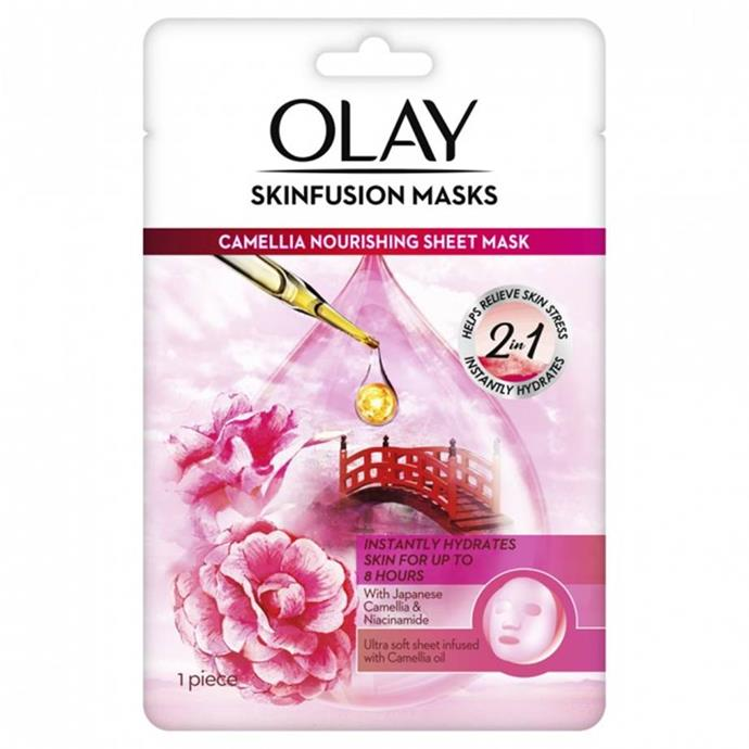 "**Olay Skinfusion Camellia Nourishing Sheet Mask** <br><br> Incorporating the remedial ingredients of the Japanese camellia flower (featuring fatty acids and other hydrating properties), Olay's 'Skinfusion' Camellia hydrating mask is instantly effective in aiding worn-out skin. Use weekly and enjoy instantly hydrated skin for up to eight hours. Thank us later. <br><br> *$9.99 for one mask at [Priceline](https://www.priceline.com.au/olay-skinfusion-camellia-nourishing-sheet-mask-1-ea|target=""_blank"").*"