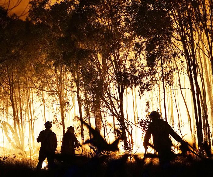 Firefighters at a bushfire in Queensland on November 29, 2018.