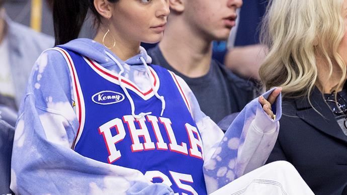 Kendall Jenner wearing a Philadelphia jersey.