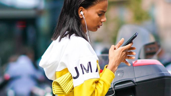 Girl with earphones.